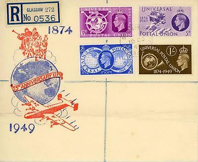 GB 1949 (10th Oct) UPU ilustrated FDC GLASGOW CDS Registered