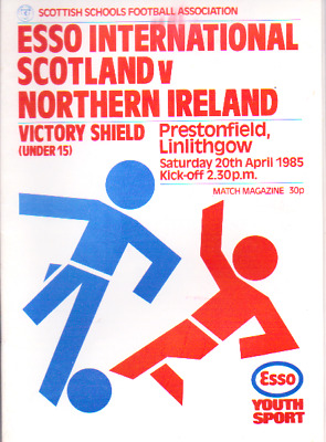 Scotland Schools V Northern Ireland 20/4/1985 Victory Shield
