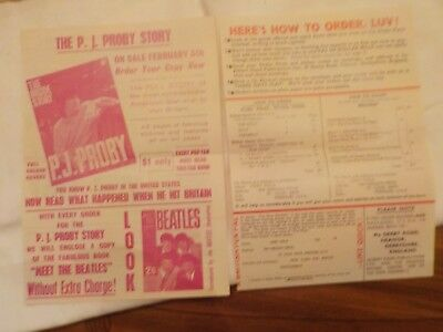 1965 Vintage Order Form Records, Mags And Goodies From Britian The Beatles