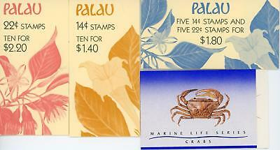 Palau 3 x Flowers Themed Stamp Booklets and Singapore Crabs Booklet