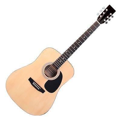 Acoustic Western Guitar Dreadnought Style Folk Music 20 Frets 6 Strings Natural