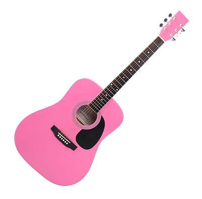 Acoustic Western Guitar Dreadnought Style Folk Music 20 Frets 6 Strings Pink