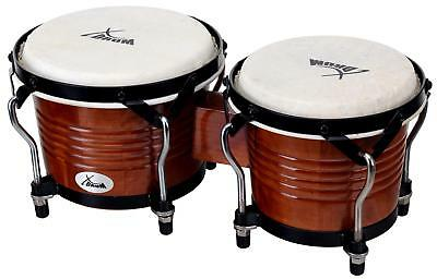 "1 Pair Professional Percussion Bongos 6.5"" 7.5"" Hand Instrument Natural Tobacco"