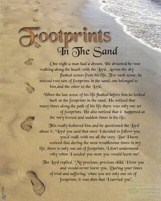 "FOOTPRINTS In The Sand Religious Print, 10"" x 8"" (200mm x 250mm)"