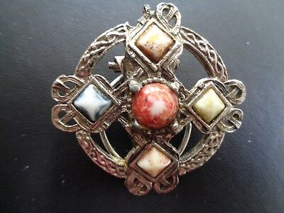 Vintage Celtic Scarf Ring Coloured Stones
