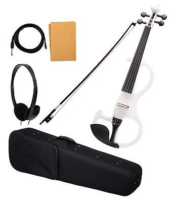 Professional Electric Violin 4/4 Size Gig Bag Bow Cable Maple White Finish Set