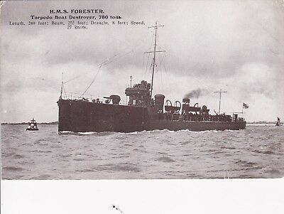"Royal Navy Real Photo. HMS ""Forester"" Destroyer. Battle of Dogger Bank. c 1911."