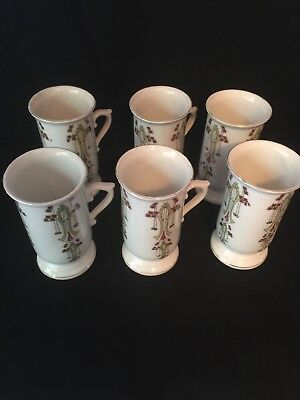 Antique ~ 6 ~ tea cups ~ tall