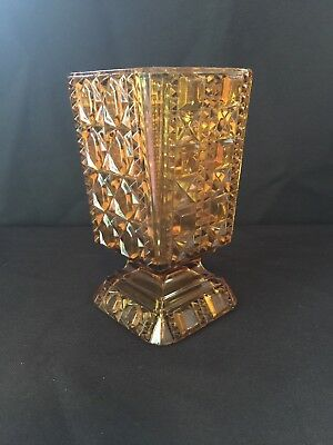 Vintage ~ HEAVY ORANGE YELLOW GLASS ~ vase or goblet??