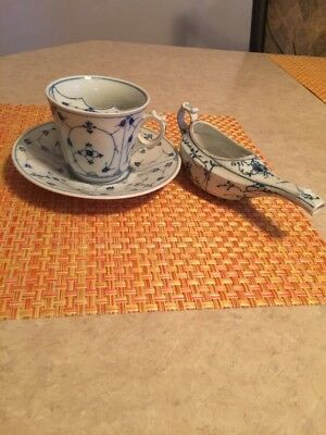 Vintage Tea Cup and Saucer White ~Blue