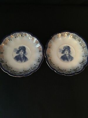 2~Antique~LS&S Carlsbad Austria~Saucers