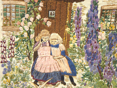 Super Condition Heavily Embroidered Colourful Original Vintage Tapestry On Board