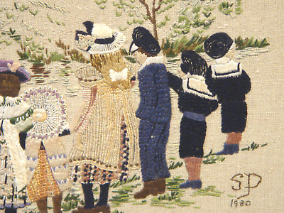 Great Condition Heavily Embroidered Original Vintage Tapestry On Board