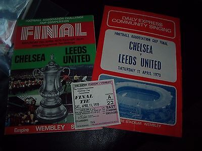 chelsea v leeds 11/4/1970 fac final + ticket and songsheet