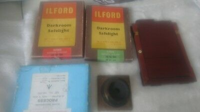 vintage ilford darkroom saflights iso no 906 and 908 + lens and plate