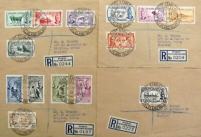 1952 Falkland Is. reg First Airmail - 4 covers to England
