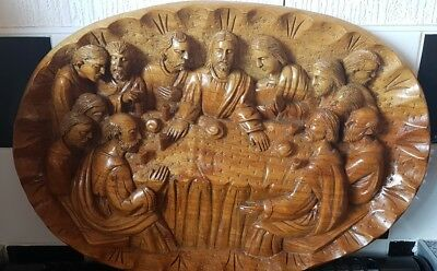 The Last Supper Wooden Carved Platter/Wall Hanging