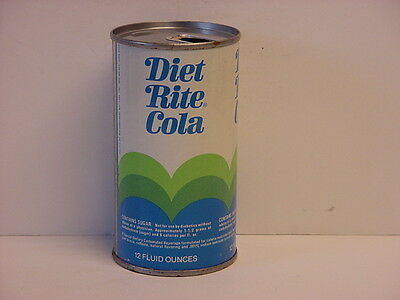 Vintage Diet Rite Cola Straight Steel Juice Tab Top Opened Soda Can