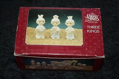 Precious Moments Pewter Miniature Three Kings Figurines Nativity 1989 Enesco Nos