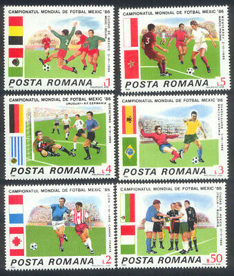 ROMANIA 1986 World Cup Football Championship, SET OF 6, MINT Never Hinged