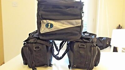 Oxford Universal Expandable Canvas Saddle Bags inc Two Panniers and Tail Bag