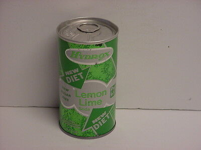 Vintage Hydrox Diet Lemon Lime Straight Steel Pull Tab Bottom Opened Soda Can