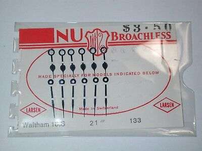 "Waltham 18 Size NOS ""NU BROACHLESS"", 6 Sets, P.W. Railroad Hands. 12M"