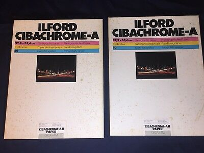 Lot Of 2 - ILFORD 11x14 Cibachrome-A Pearl Photographic Paper 50-Sheet Boxes EXP