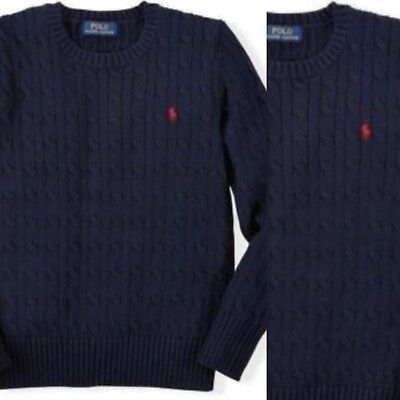 NWT Ralph Lauren Cableknitted Navy Blue Sweater, Boys Size L (18-20), NEW