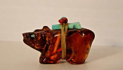 Zuni Carved AMBER BEAR S.F. NEW MEXICO COLLECTION ARTIST MARK FETISH TINY
