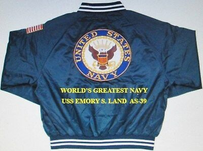 Uss Emory S. Land  As-39  Navy Anchor Embroidered 2-Sided Satin Jacket