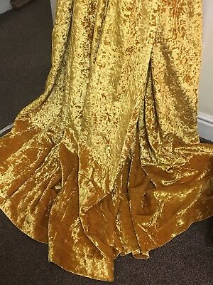 GOLD CRUSHED Velvet CURTAIN/UPHOLSTERY FABRIC 2.30 Mtr Long X 1.4 Mtr Wide