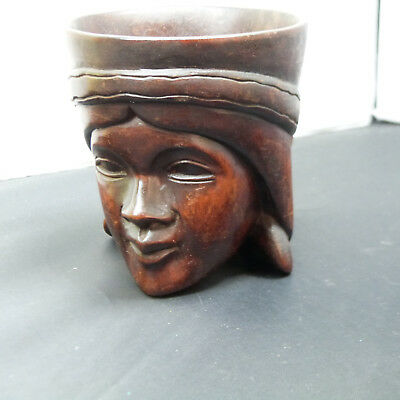 WOOD CARVED COFFEE MUG w/ indigenous face, Made in Phillippines (4)
