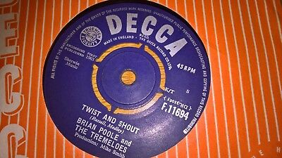BRIAN POOLE UK DECCA 45 TWIST AND SHOUT 1st ISSUE 1963 EX