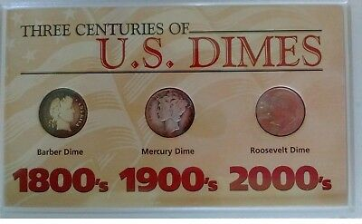 Three Centuries U.S. Dimes: Barber; Mercury; Roosevelt