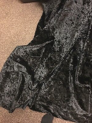 Black CRUSHED Velvet CURTAIN/UPHOLSTERY FABRIC 1.56Mtr Long X 1.4 Mtr Wide
