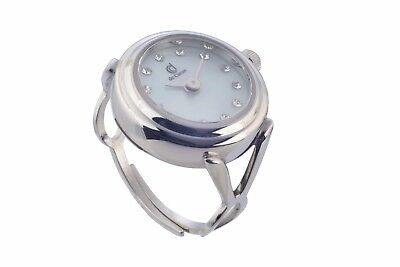 de Caron Adjustable Ring Watch with Swarovski Crystals, Sapphire Glass, 3ATM