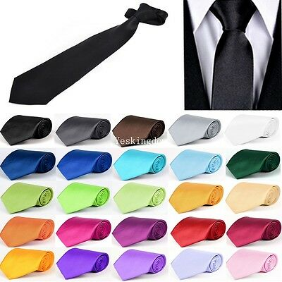 New Solid Color Plain Satin Men's Tie Neckti