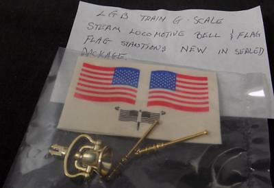 LGB BRASS BELL & FLAG STATIONS w/ FLAG DECALS, New in Sealed Pkg