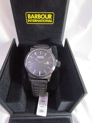 Barbour BB024BKBK Mens International Halsted Black Leather Strap Watch