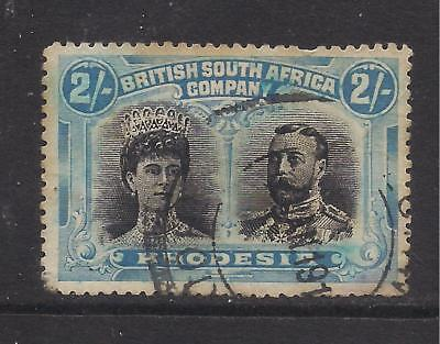 RHODESIA  1910-13  2s black & dull blue  SG154  used