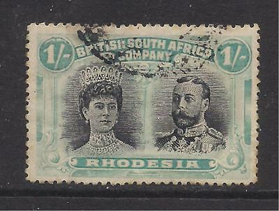RHODESIA  1910-13  1s black & pale blue-green  SG152  FU