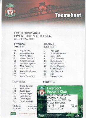 Liverpool v Chelsea (TEAMSHEET & TICKET only) - 02/05/2010