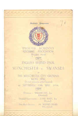 schools english shield final manchester v swansea  at moss side 1934 plus photo