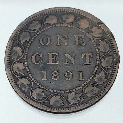 1891 One 1 Cent Penny Large Leaves Date Copper Circulated Canadian Coin B743