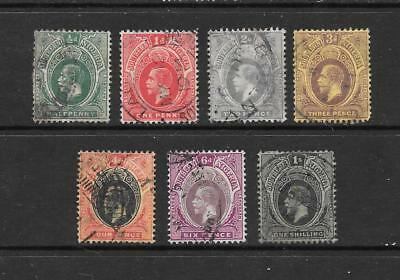 1912 King George V SG45 to SG52 Short Set of 7 Stamps Used SOUTHERN NIGERIA