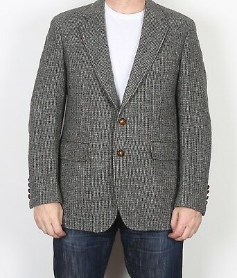 "Harris Tweed 40"" Small Medium  Jacket Blazer Grey Brown    (9AI)"