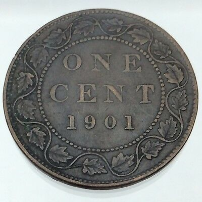 1901 Canada Copper Large One 1 Cent Canadian Circulated Penny Coin B749