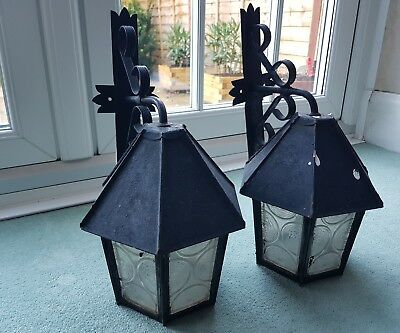 Pair of Black Vintage Wrought Iron Outdoor Porch Glass Lantern & Fitted Brackets