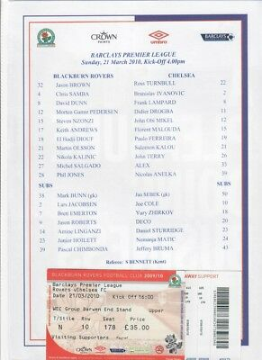 Blackburn Rovers v Chelsea (TEAMSHEET & TICKET only) - 21/03/2010